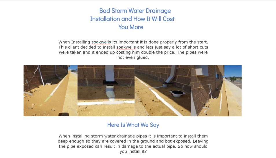 Bad Storm Water Pipe Installation
