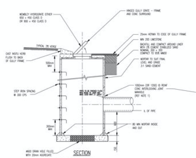 1050 x 900 soakwell diagram