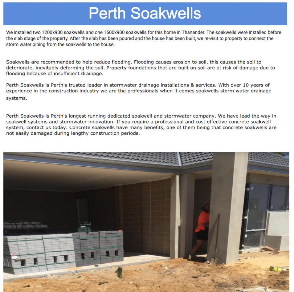 Perth Soakwells Storm water drainage Article