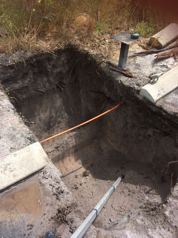 Excavating Ground to install storm water drainage tanks