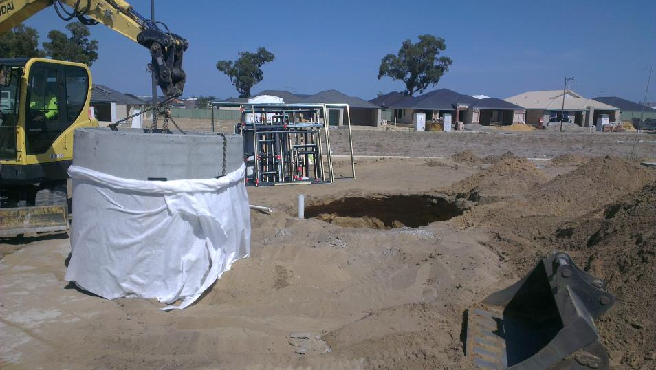 Concrete soakwell type - Being installed in Perth